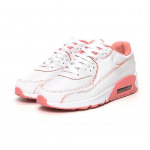 Pantofi sport de dama cu pernă de aer în alb și roz 2