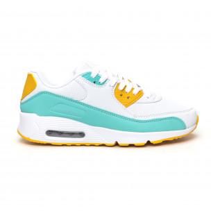 Pantofi sport de dama cu pernă de aer în alb cu accente