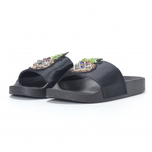 Papuci de dama negri cu ananas 2
