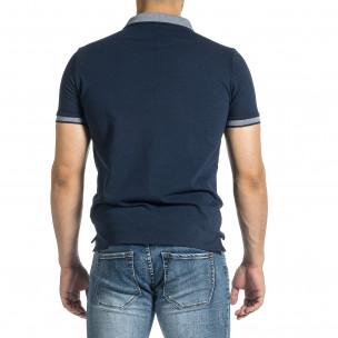 Tricou cu guler bărbați Baker's albastru 2