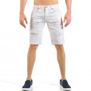 Blugi scurți de bărbați albi cu patch-uri cu imprimeu Desierto