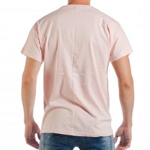 Tricou roz pentru bărbați cu imprimeu papagal  2