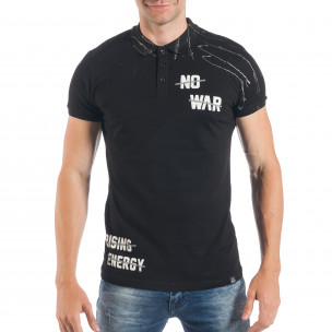 Tricou negru de bărbați Pique cu efect murdar