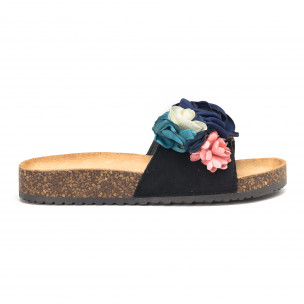 Papuci de dama negri cu flori