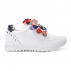Pantofi sport albi de dama din piele ecologica cu șireturi din satin