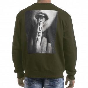 Bluză de bărbați verde militar cu imprimeu pe spate 2