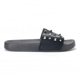 Papuci de dama negri cu pietre și ținte