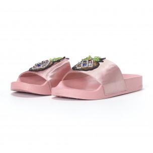 Papuci de dama roz cu ananas 2