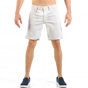 Blugi scurți de bărbați albi cu manșete