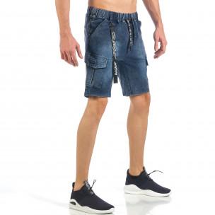 Pantaloni scurți de bărbați albaștri cu buzunare cargo 2