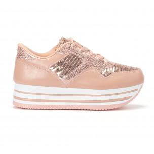 Pantofi sport de dama roz cu platforma și paiete