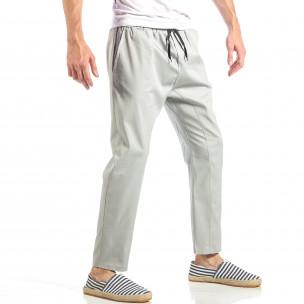 Pantaloni pentru bărbați gri cu talie elastica  2