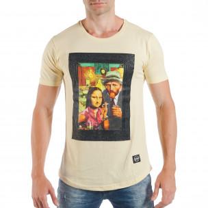 Tricou galben pentru bărbați cu imprimeu pop-art