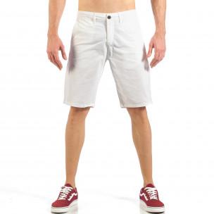 Pantaloni scurți de bărbați albi cu buzunare italiene