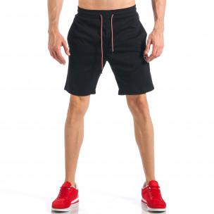 Pantaloni scurți de bărbați negri cu aplicație Drapelul britanic 2