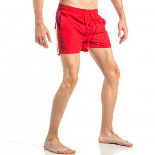 Costum de baie pentru bărbați roșu cu banda în trei culori 2