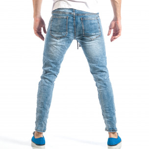 Blugi pentru bărbați albaștri cu elastic  2