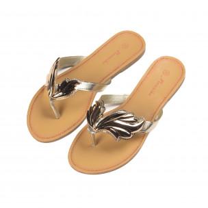 Papuci de damă cu decoraţiune metalică aurie 2