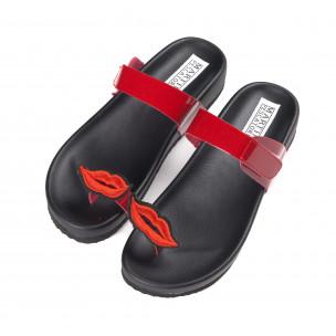 Papuci de dama roșii din imitație de piele lăcuită 2