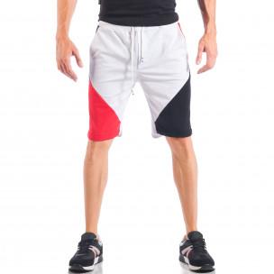 Pantaloni scurți pentru bărbați albi cu părți negre și roșii  2