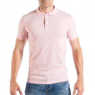 Tricou roz Pique cu guler pentru bărbați