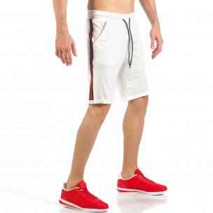 Pantaloni scurți de bărbați albi cu banda neagra-roșu  2
