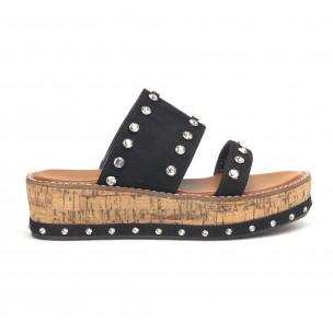 Papuci de dama negri cu pietre