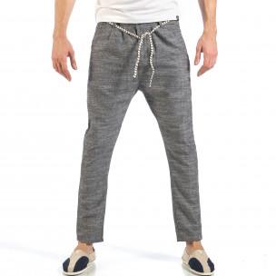 Pantaloni de bărbați gri cu șiret la talie