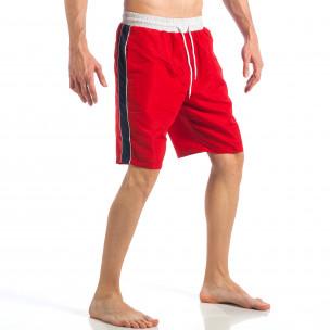 Costum de baie de bărbați roșu cu banda albastră laterală  2