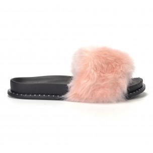 Papuci de dama roz cu puf