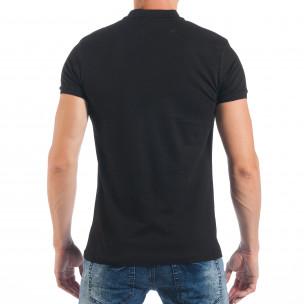 Tricou negru de bărbați Pique cu efect murdar  2