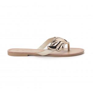 Papuci de damă cu decoraţiune metalică aurie