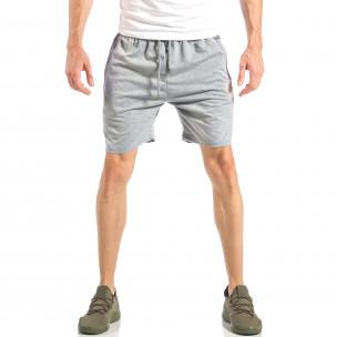 Pantaloni scurți pentru bărbați gri cu logo MA
