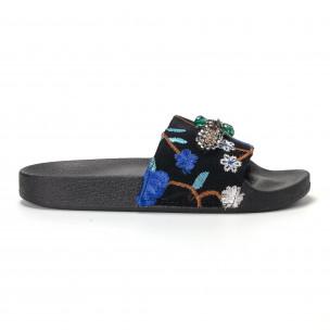 Papuci de dama albaștri cu broderii și pietre