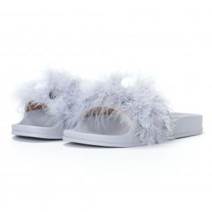 Papuci de dama gri cu puf și paiete 2