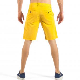 Pantaloni scurți de bărbați galbeni cu buzunare italiene 2