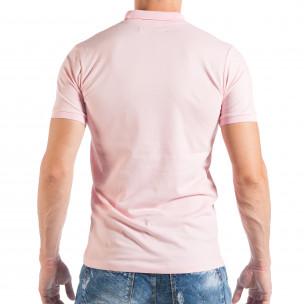 Tricou roz Pique cu guler pentru bărbați   2