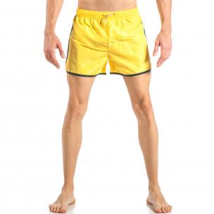 Costum de baie pentru bărbați galben cu banda verde neon