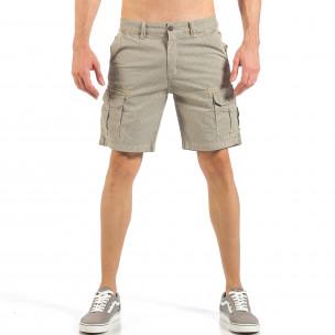 Pantaloni cargo scurți de bărbați kaki cu imprimare mica