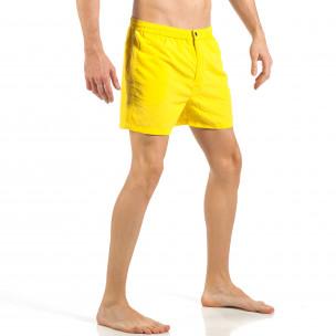 Costum de baie de bărbați galben cu fermoar și nasture  2
