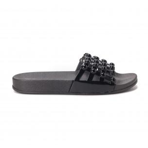 Papuci de dama negri din imitație de piele lăcuită