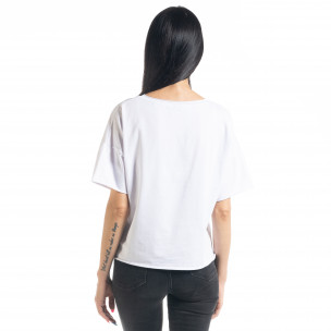 Tricou de dama în alb Loose fit 2