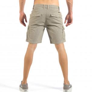 Pantaloni cargo scurți de bărbați kaki cu imprimare mica  2
