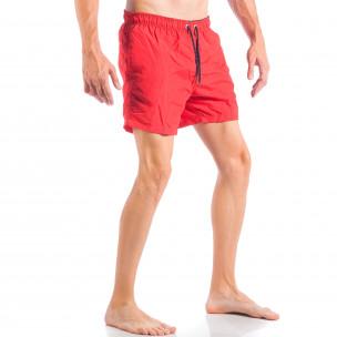 Costume de baie pentru bărbați roșu cu șireturi albastre  2