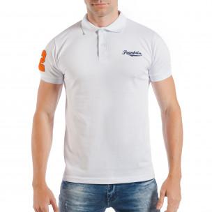 Tricou tip Polo shirt alb de bărbați cu număr 32