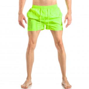 Costum de baie pentru bărbați verde neon cu banda în trei culori