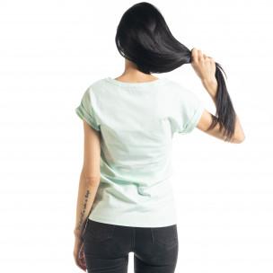 Tricou verde de dama cu imprimeu  2