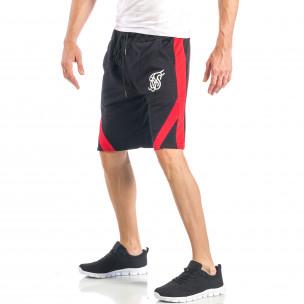 Pantaloni scurți pentru bărbați negri cu banda roșie 2