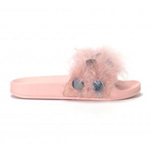 Papuci de dama roz cu puf și paiete