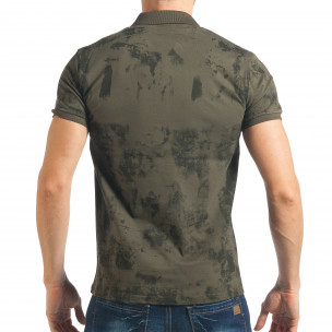 Tricou cu guler bărbați Madmext verde  2
